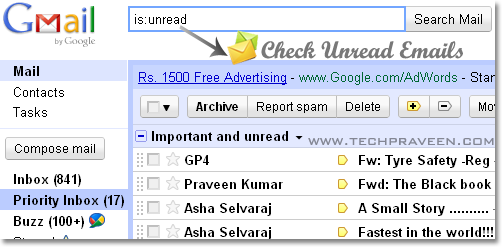 how to clear you email of unread messages