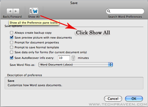 Microsoft Word doc 2011 Show All Options