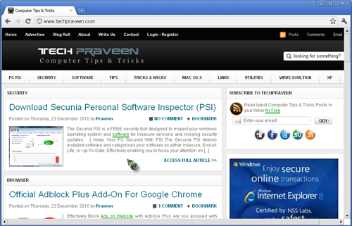 Techpraveen In Iron Browser