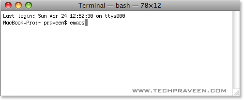 Type Emacs in Mac Os X Terminal Window