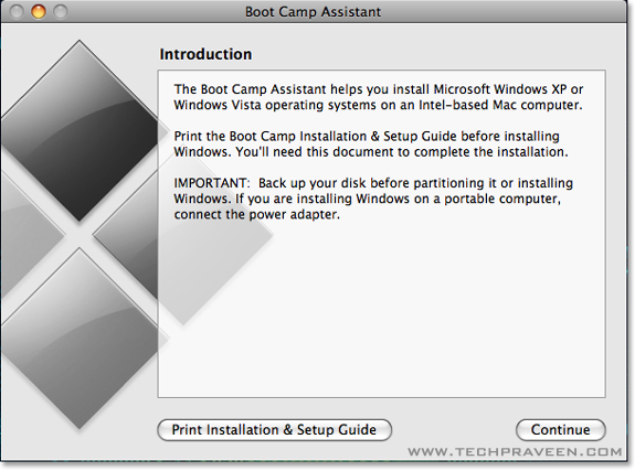 Boot Camp Assistant Dialog Box How to Install Windows on Your Mac using Boot Camp