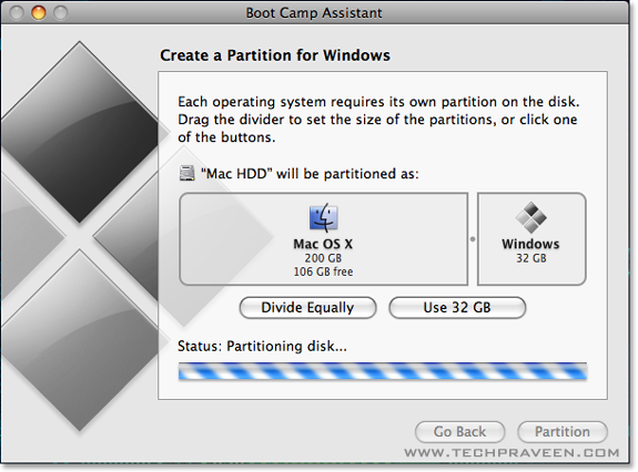 Set Windows Partition and Click Partition Button How to Install Windows on Your Mac using Boot Camp