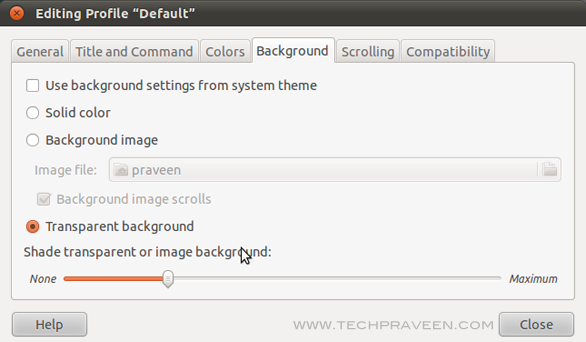 Edit Linux Terminal Profile Settings