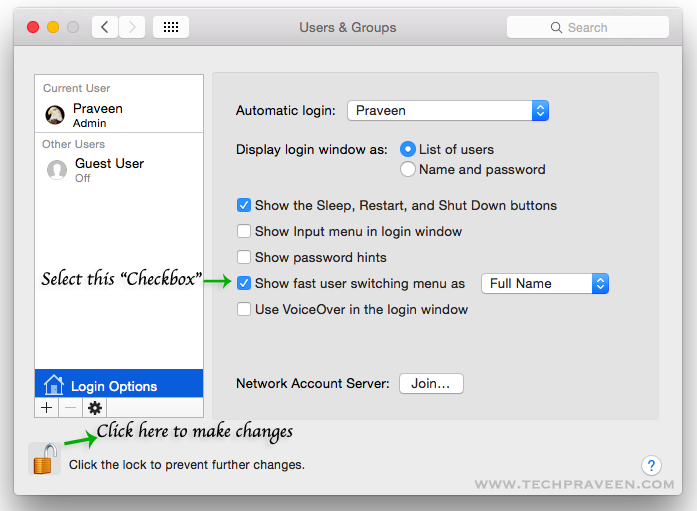 how to add your name to mac toolbar